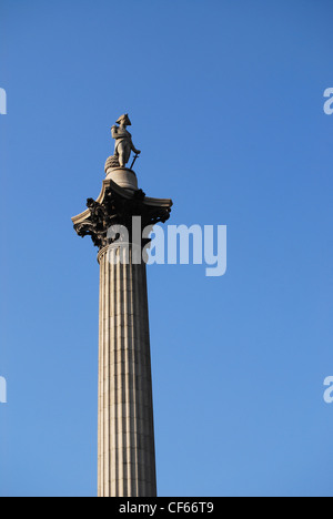 A view up at Nelson's Column in Trafalgar Square. - Stock Photo