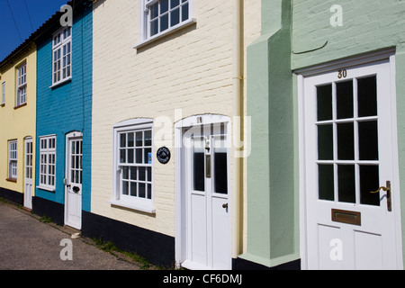 Painted terraced cottages in the heart of Southwold. - Stock Photo