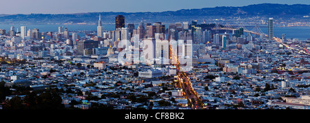 City skyline viewed from Twin Peaks, San Francisco, California, United States of America - Stock Photo