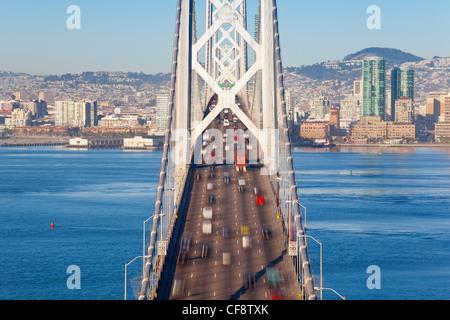 USA, California, San Francisco, Oakland Bay Bridge and City Skyline - Stock Photo