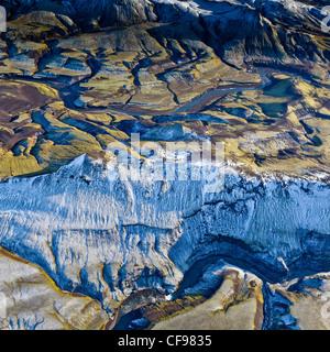 Aerial of Mountains, Emstrur Area, IcelandRegion near Katla, a subglacial volcano under Myrdalsjokull Ice Cap - Stock Photo