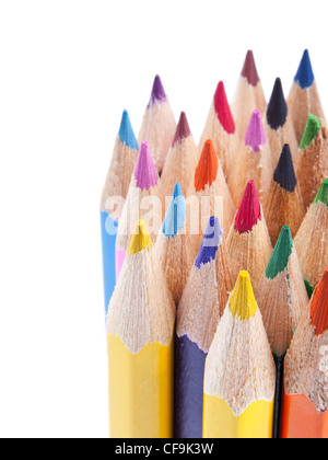 Various colour pencils in close up on white background - Stock Photo
