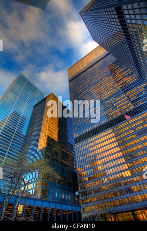Low angle view of King Street office towers, Toronto, Ontario, Canada - Stock Photo