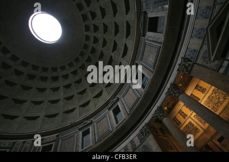 Inside the Pantheon in Rome Italy in the Piazza Della Rotonda - Stock Photo