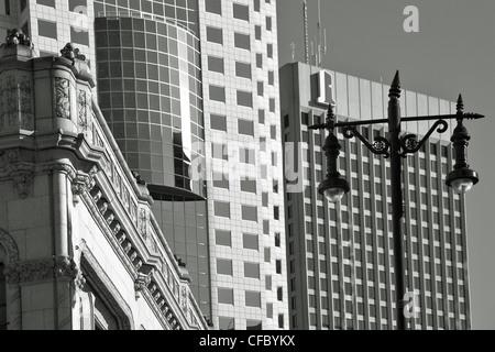 Contrasting architecture along Portage Avenue. Winnipeg, Manitoba, Canada. - Stock Photo