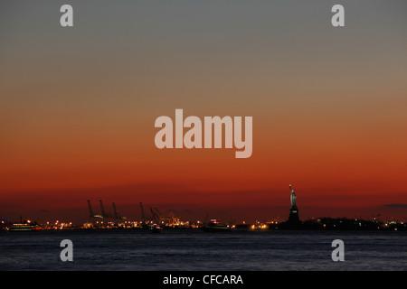 port of New York Sunset - Stock Photo