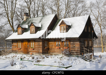 Snow white cottage stock photo royalty free image for Old style cabins