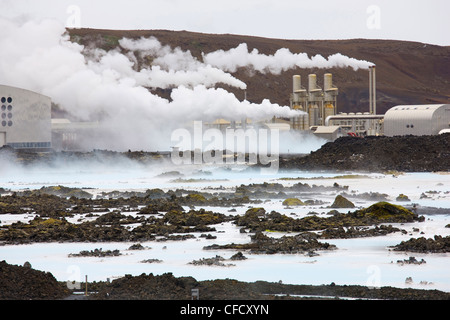 Svartsengi Geothermal plant, which feeds water to The Blue Lagoon, Iceland's famous outdoor spa, Reyjanes Peninsula, - Stock Photo