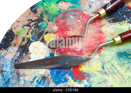 Painting with palette knife - Stock Photo