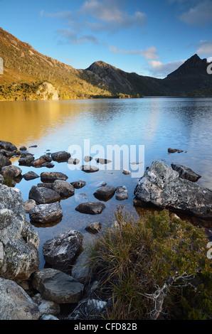 Cradle Mountain and Dove Lake, Cradle Mountain-Lake St. Clair National Park, UNESCO World Heritage Site, Tasmania, - Stock Photo