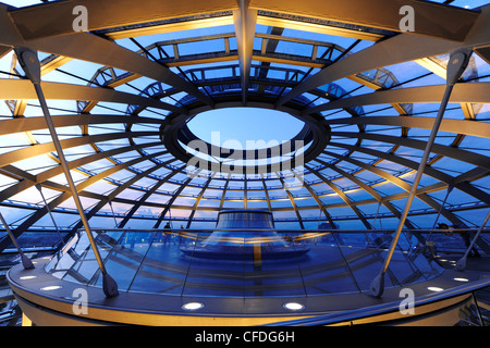 Interior view of the Reichstag Dome in the evening, Mitte, Berlin, Germany, Europe - Stock Photo
