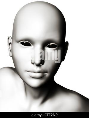 Digitale Illustration einer bizarren, futuristische Sci-Fi-Alien oder Cyborg Typ Kreatur. - Stockfoto