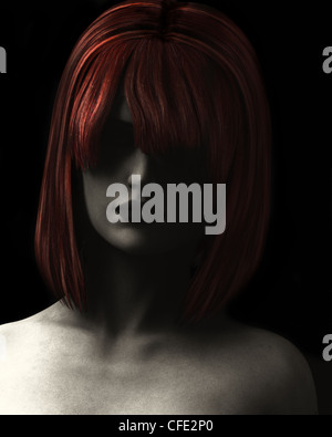 Fine Art style digital illustration textured and grainy of beautiful woman in deep shadow with red hair. - Stock Photo