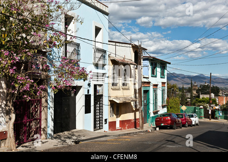 picturesque row of colorful dwellings line Panoramica del Fortin with eastern mountains in the distance Oaxaca de - Stock Photo