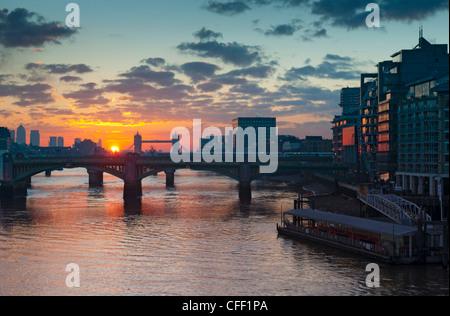 Southwark Bridge and Tower Bridge, London, England, United Kingdom, Europe - Stock Photo