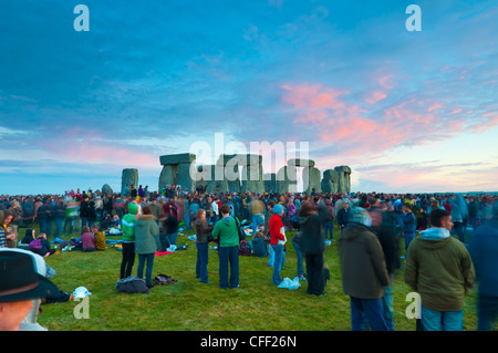 Summer Solstice celebrations, Stonehenge, UNESCO World Heritage Site, Wiltshire, England, United Kingdom, Europe - Stock Photo