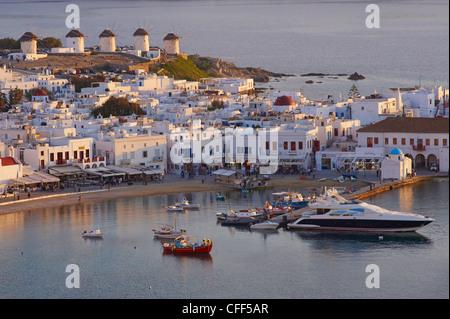 Five windmills (Kato Mili), old harbour, Mykonos town, Chora, Mykonos Island, Cyclades, Greek Islands, Greece, Europe - Stock Photo