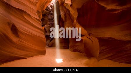 Light Beam In Slot Canyon - Stock Photo