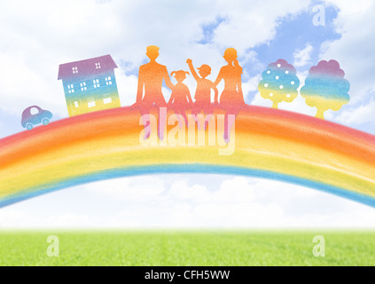 Family sitting on the rainbow - Stock Photo