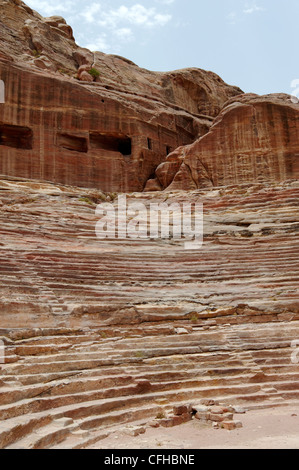 Petra. Jordan. View of the 1st century classical styled theatre at the Red Rose city of Petra. Built by the Nabataeans - Stock Photo