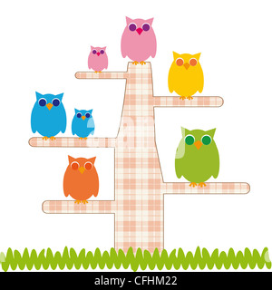 Cute kids cartoon with tree and owns - Stockfoto