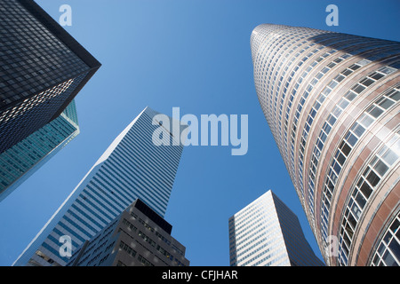 Low angle view of Manhattan skyscrapers, New York City, USA - Stock Photo