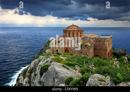 The byzantine church of Hagia Sophia, the only building remaining in good condition on the 'Upper' castle of Monemvasia, - Stock Photo