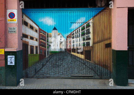 Garage car shelter door La Macarena district central Seville Andalusia Spain - Stock Photo
