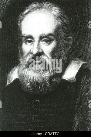 GALILEO GALILEI (1564-1642) Italian physicist in an engraving based on a 1636 painting by Justus Sustermans - Stock Photo