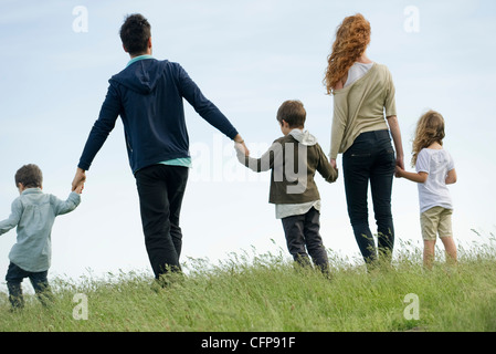 Family walking hand in hand in field, rear view - Stock Photo