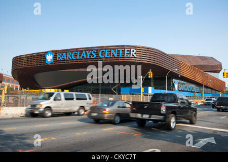 The new Barclays Center home of the Brooklyn Nets Sports Arena and Concert Hall opens to the public September 28th, - Stock Photo