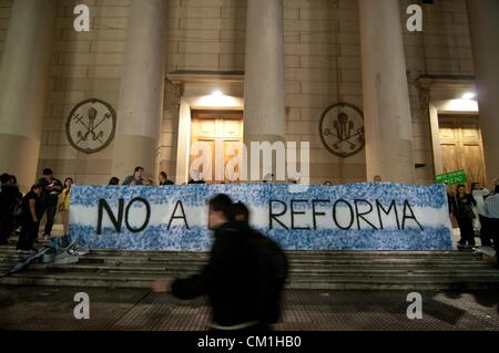 Sept. 13, 2012 - Buenos Aires, Argentina - A banner reads 'No to reform' as approximately 50,000 people participated - Stock Photo