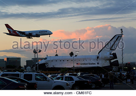 Los Angeles, California - USA, October 12th, 2012 - Space Shuttle Endevour rests at it's first stop in Westchester, - Stock Photo
