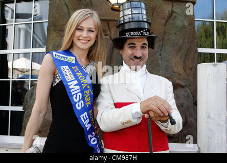 Miss EM 2012 Natalia Prokopenko and Charly at Hotel Bell Rock Press Conference  at Europapark in Rust, Germany on - Stock Photo