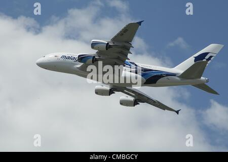 11 June 2012. Farnborough International airshow. Pictured - A380 Malaysian Airlines - Stock Photo