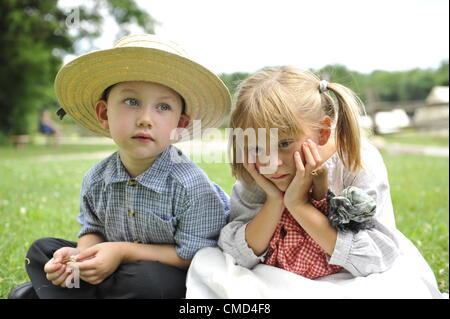 Old Bethpage, New York, USA - July 21, 2012: ROBERT WALKER, 4, of Coram, and JULIAN LYNN ZOLL, 6, of Levittown, - Stock Photo