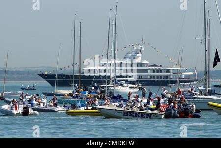 25 July 2012 Cowes, UK.HRH Queen Elizabeth II visits Cowes, Isle of Wight on the last day of her Diamond Jubilee - Stock Photo