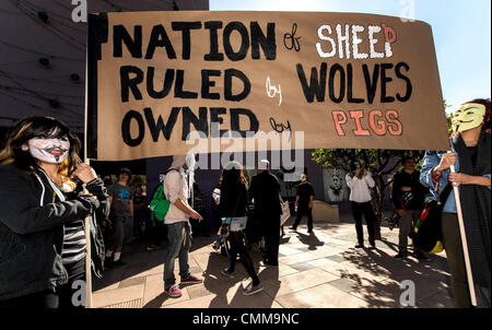 Los Angeles, CA, USA. 05th Nov, 2013. People gather for the Million Mask March on Guy Fawkes Day in downtown Los - Stock Photo