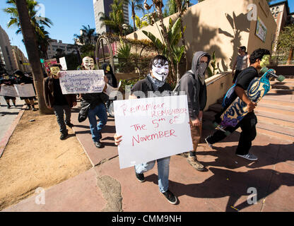 Los Angeles, CA, USA. 05th Nov, 2013. People protest at the Million Mask March on Guy Fawkes Day in downtown Los - Stock Photo