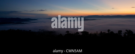 Mist and low cloud hanging over Lowland Dipterocarp Rainforest taken moments before sunrise.  Danum Valley, Sabah, - Stock Photo
