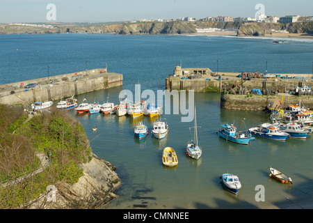 Colourful fishing boats moored in Newquay harbour, Cornwall UK. - Stock Photo