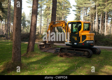 Machinery used for land management and forestry by Forestry Commission, Thetford Forest, Norfolk UK - Stock Photo