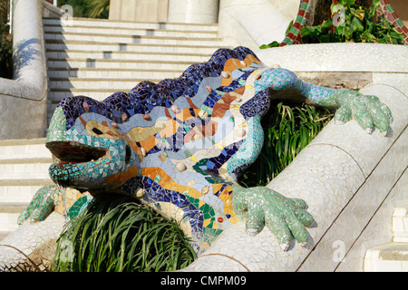 Mosaic lizard fountain by Antonio Gaudi at Parc Guell in Barcelona, Spain - Stock Photo