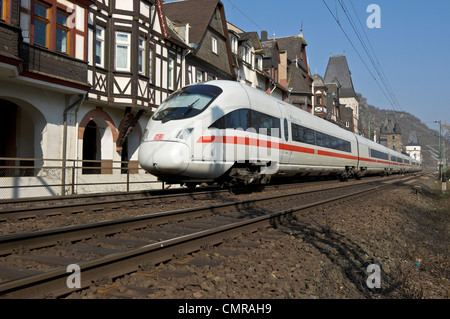 German ICE  train passing through Bacharach in the 'Unesco' middle Rhine Valley, Germany. - Stock Photo