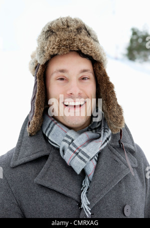 Happy man in hat - Stock Photo