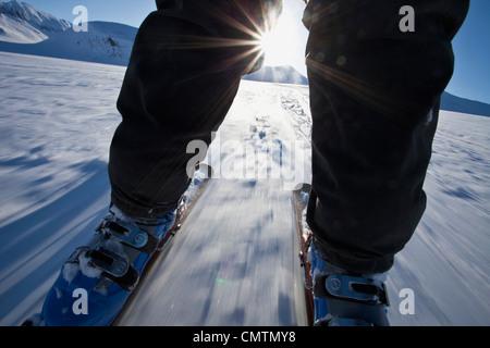 Ride touring skates in sunshine - Stockfoto
