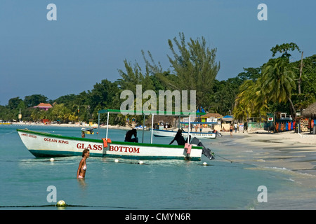 Jamaica Negril beach glass bottom boat - Stock Photo
