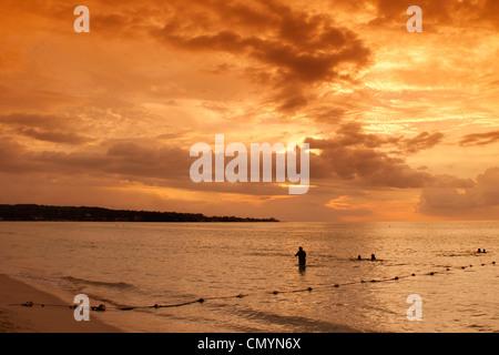 Jamaica Negril beach sunset - Stock Photo