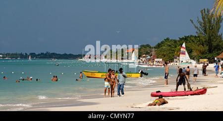 Jamaica Negril beach palm tree - Stock Photo