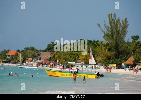 Jamaica Negril beach glass bottom boat - Stock Photo